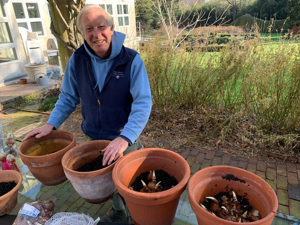Rick with pots of forced bulbs