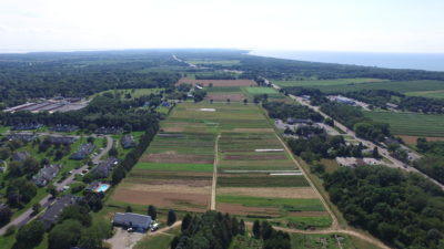 aerial of Ag Center farm fields